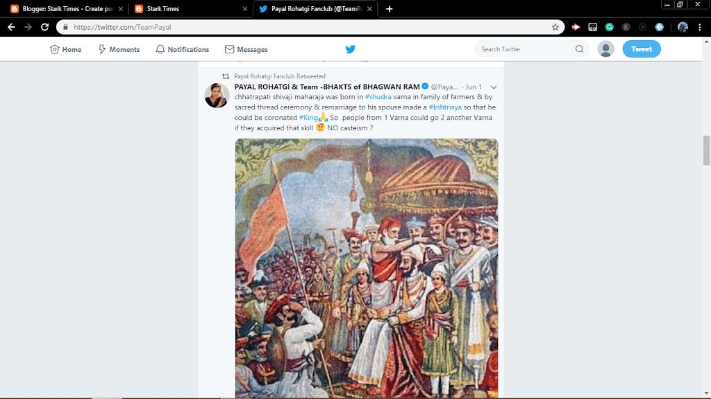 Payal Rohtagi's Controversal Tweet On Chhatrapati Shivaji Maharaj Caste,