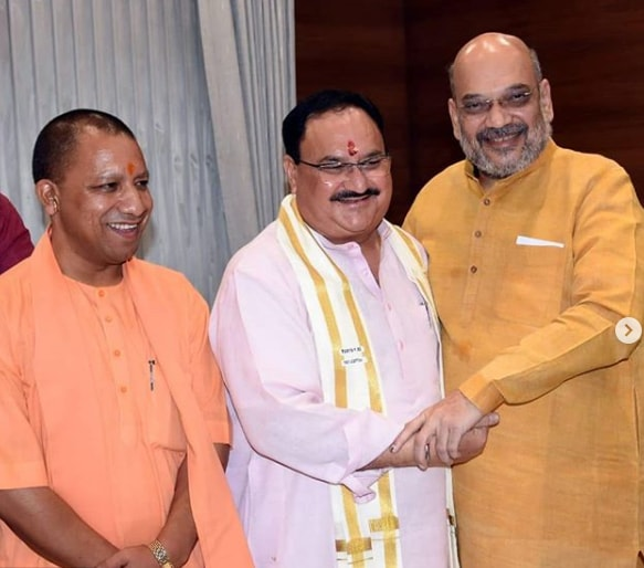 Jagat Prakash Nadda With Amit Shah and Yogi Aditya Nath