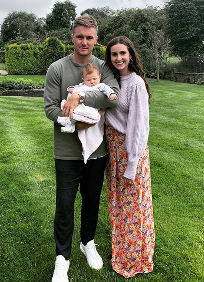Jason Roy with wife Elle and daughter Everly