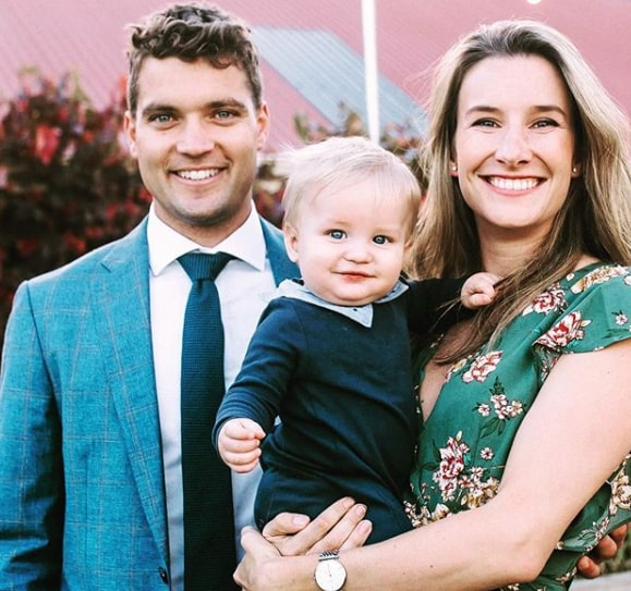 Alex Carey With His Wife and Son